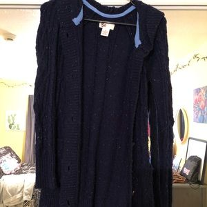glittery navy cardigan